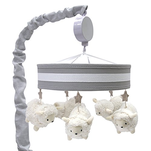 Lambs & Ivy Goodnight Sheep Crib Musical Mobile - White/Gray