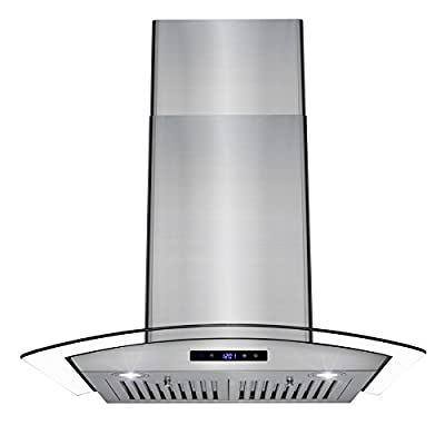 AKDY Wall Mount Range Hood - Embossed Copper Hood Fan for Kitchen - 4-Speed Professional Quiet Motor - Premium Touch Control Panel - Elegant Design - Dishwasher Safe Baffle Filters
