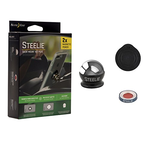Nite Ize Steelie Dash Mount Kit Plus - Magnetic Car Dash Mount for Smartphones with 2x Holding Power and Restickable Magnet Adapter