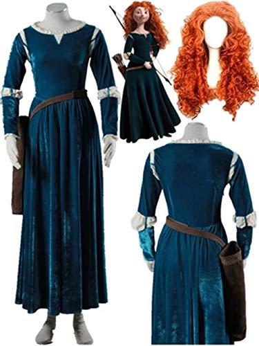 Brave Merida Princess Dress Costume Adult Women's Halloween Carnival Cosplay Costume (Female M) Green -