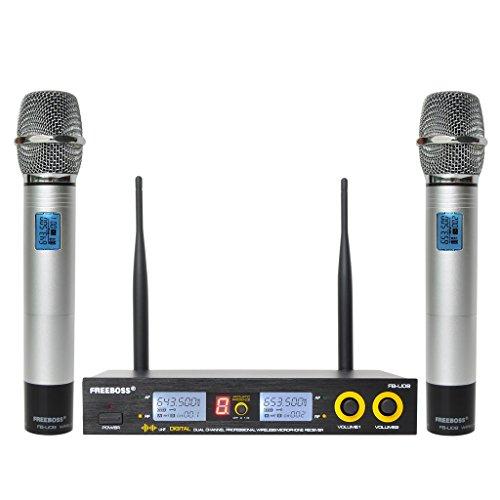 Freeboss FB-U09 Dual Way 2 Silver Metal Handheld Digital UHF Wireless Microphone
