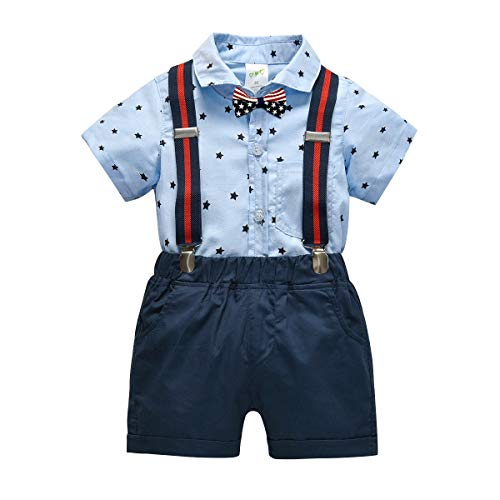 Simplee kids Baby Boys Gentleman Summer Star Suits Set Star Romper and Bow Tie Shorts Overalls Tuxedo Jumpsuit Onesies Baby Formal Wear (Star 6-12 Months)