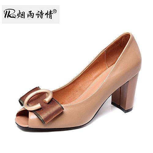 Apricot Couleur SFSYDDY Bow Grossier Bouche De Poisson Chaussures Petite Bouche Des Chaussures Du Printemps Et De L'été Des Chaussures 7Cm Talons Hauts. Thirty-four