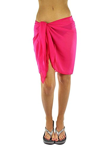 Luxury Divas Fuchsia Pink Womens Short Sarong Wrap Cover Up ()