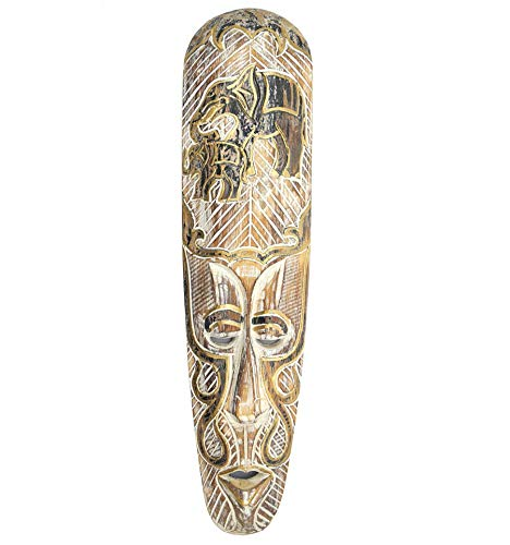 Masque Africain 50cm en Bois Blanchi, Motif éléphants Noir et Or.