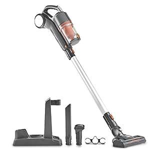 VonHaus Cordless 22.2V Lithium-ion 2 in 1 Handheld Vacuum Cleaner Lightweight - Includes Crevice Tool & Brush Accessories (Gray/Orange)