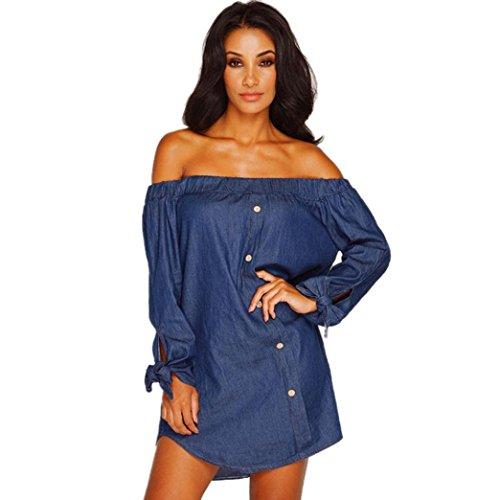 VESNIBA Women Long Sleeve Off Shoulder Button Denim Dress (XL, Dark blue)