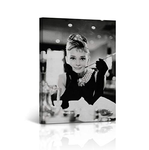 Buy4Wall Audrey Hepburn Wall Art Canvas Print Breakfast at Tiffany`s Picture on The Table Vintage Home Decor Framed Artwork - Ready to Hang -%100 Handmade in The USA - 12x8 ()