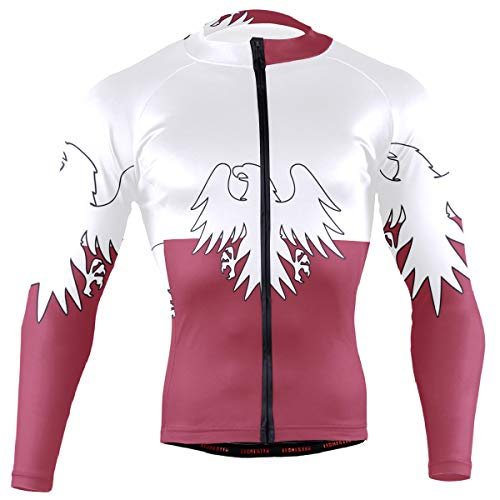 (DERLONKAJE Polish Flag White Eagle Distressed Men's Cycling Jersey Long Sleeve Breathable Biking Shirts Gear Style)