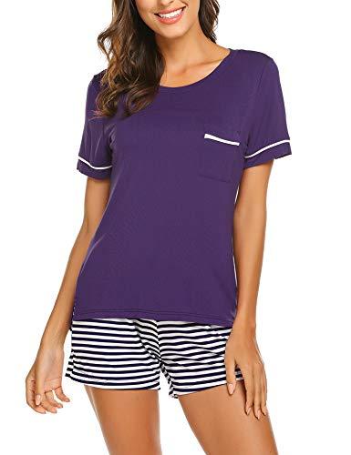 - Ekouaer Womens Pajama Set Striped Short Sleeve Sleepwear Pjs Sets(S-XXL)