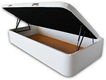 Image of Ventadecolchones - Canapé Abatible Apertura Lateral Serena Gran Capacidad Tapizado en Polipiel Blanco Medidas 90 x 190 cm con Tapa en Tejido 3D