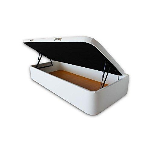 Ventadecolchones - Canape Abatible Apertura Lateral Serena Gran Capacidad Tapizado en Polipiel Blanco Medidas 90 x 190 cm con Tapa en Tejido 3D