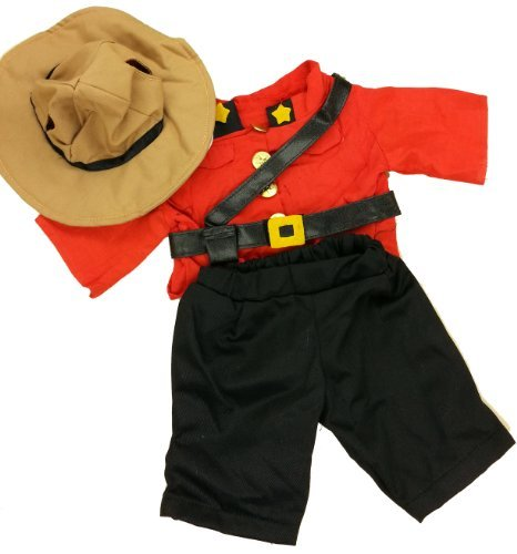 Royal Canadian Mountie Outfit Fits Most 14 - 18 Build-a-bear, Vermont Teddy Bears, and Make Your Own Stuffed Animals by Stuffems Toy -