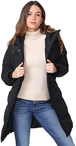 CAMEL WOMEN PUFFER LONG COAT THICKENED HOODED JACKET WINDPROOF PARKAS FOR OUTDOOR WINTER