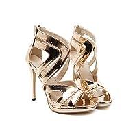 edv0d2v266 Heels Women Sandals Summer Shoes Women Open Toe Chunky High Heels Party Dress Sandals (Gold 37/6.5 B(M) US Women)