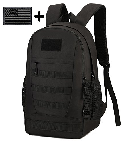 ArcEnCiel Waterproof Military Backpack Rucksack Gear Tactical Assault Pack Student School Bag for Hunting Camping Trekking Travel with Patch -Rain Cover Included (Black)