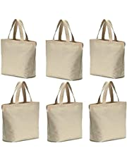 6 Pcs Reusable Canvas Tote Bags Bottom Gusset Heavy Tote Shopping Bag Washable Grocery Tote Bag,Multi-purpose Blank Canvas Bags Use for Grocery Bags,Book Bags,Shopping Bags,Craft DIY Drawing,Gift Bags, etc.(15.5''x13''X3'')