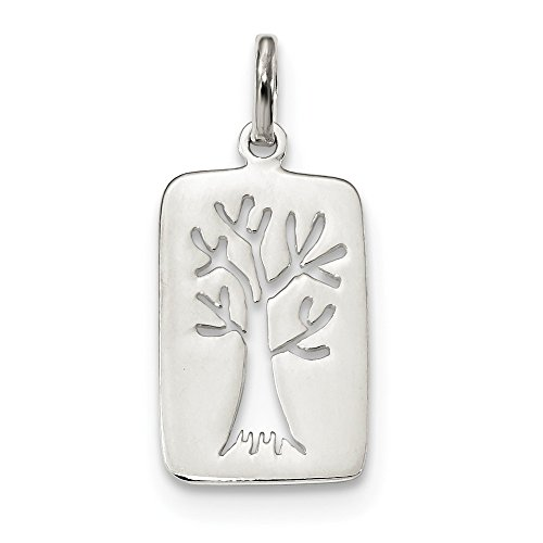 (Best Designer Jewelry Sterling Silver Rhodium-plated Polished Tree Cut-out Charm)
