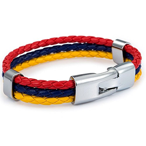 Trendsmax 12mm Wide Mens Womens Colombia Flag Braided Rope Surfer Leather Bracelet Wristband