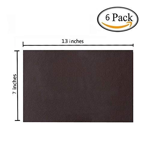 - 6 Pieces Leather Patch, Adhesive Backing Leather seat Patch for Repair Sofa, Car Seat, Jackets, Handbag, 13 by 7 Inch, Dark Brown