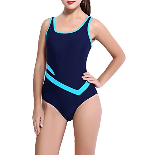 Laixing 6639# Womens Traje de baño Boyleg Swimwear Sports Swimming Costume Black&Blue
