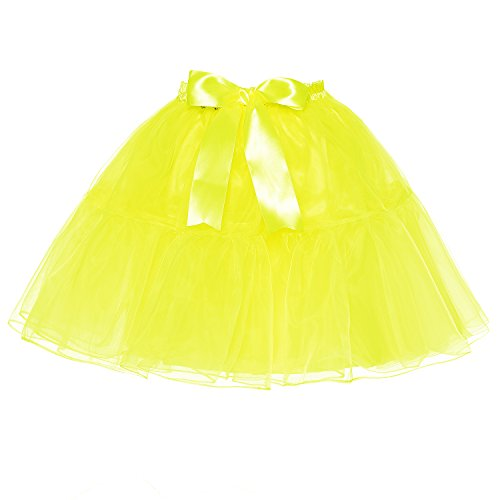 LSCY Femmes Au-Dessus Au Genou Jupe Bowknot Couches Tutu Petticoat Taille Haute Tulle Plusieurs Tailles Bright yellow
