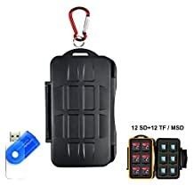 Memory Card Case, LXH Portable Holder SD SDHC SDXC CF MSD TF Micro SD Card Durable Waterproof Anti-shock Storage Protector Box Computer Phone Camera Card Cartridge Water-proof and Anti-dust Keeper With Carabiner & Card Reader For 12 SD & 12 TF/ MSD / Micro SD ( 24 Slots )