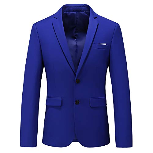 Mens Casual Two Button Single Breasted Suit Jacket Modern Wedding Tux Blazer US Size 36 (Label Size 2XL) Colored Blue