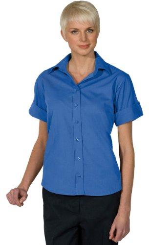 Ed Garments Women's Open Neck Poplin Short Sleeve Blouse, French Blue, XX-Large (Edwards Short Sleeve Blouse)