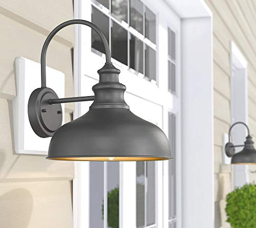 Bestshared Farmhouse Wall Mount Lights, Gooseneck Barn Light, 2 Pack Outdoor Wall Lantern for Porch in Black Finish with… - Black Finish with Copper Interior: the Black Finish fit any decor while the copper interior reflects light perfectly to form a extremely accent contrast Simple Industrial Design: The simple, traditional design of this light fixture looks great with any style of decor Bulb Requirement: Hard wired. Requires 1x E26 base bulb(Max.100W). BULB NOT INCLUDED. - patio, outdoor-lights, outdoor-decor - 41ya6pPhIGL -