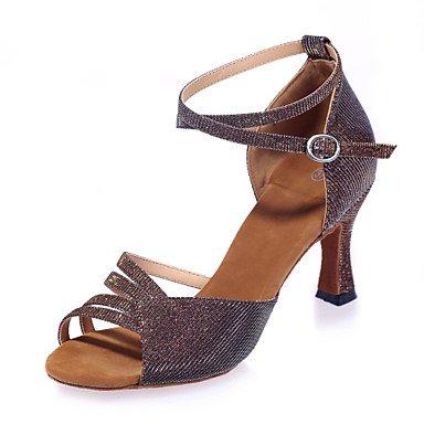 baile Personalizables Negro Tacón No Plata de Latino Carrete Rojo Marrón Oro Azul Gold Zapatos g5nHExvwqn