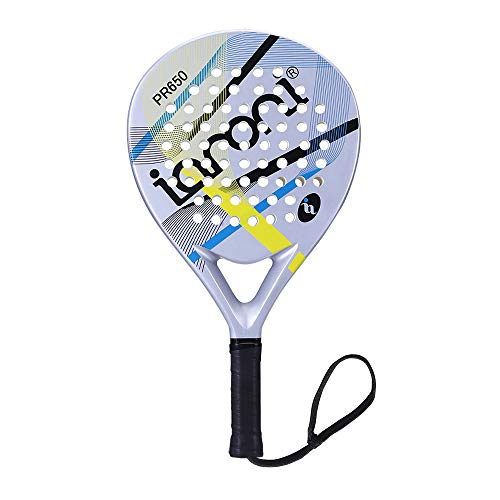 ianoni Tennis Padel Beach Racket Tennis Paddle with Carbon Fiber Face and EVA Memory Foam Core-Used Interchangeably for Paddle(Padel ) and Paddle Tennis(POP Tennis) (Carbon Fiber Tennis Racket)