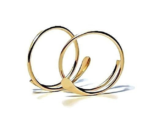 14K Yellow Gold Hammered Open Hoop Earrings Small Petite 1/2 Inch Threader Hoops