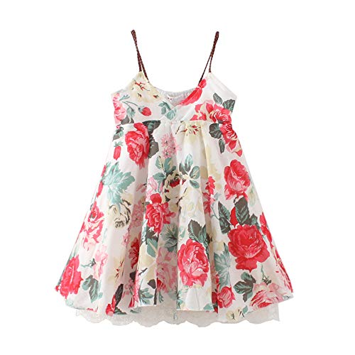 HILEELANG Girl Beach Dress Summe Flower Print Cotton Sleeveless Cool Pajamas Tank Top Slip Dress