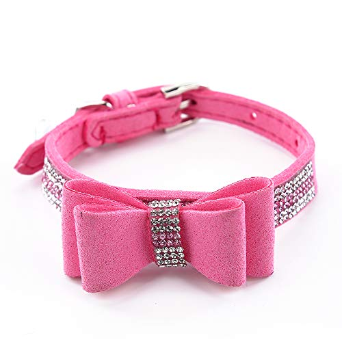 SuperBuddy Rhinestone Leather Cat & Dog Collar with Bow Tie - Sparkly Crystal Diamonds Studded for Small Medium Large Dogs (Studded Rhinestone Bow)