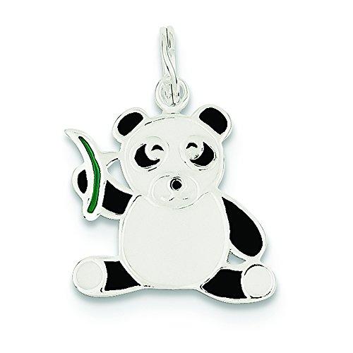 (.925 Sterling Silver Enameled Panda Bear Charm Pendant)