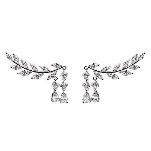Polytree Vine Jewelry Sweep Wrap Crystal Leaf Ear Cuffs Set Tassel Stud Earrings for Women Jewelry Gift (Silver)
