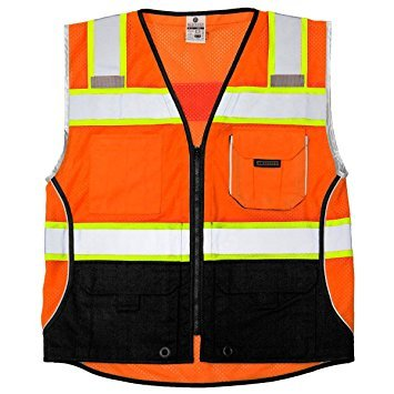 Safety Vest, L, Orange, Male