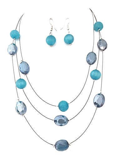 3 Row Aqua Blue Glass Resin Beaded Black Illusion Wire Necklace Earrings Set - 3 Row Illusion Necklace
