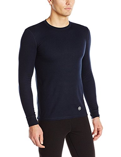 CLIMATESMART Men's Proextreme Long Sleeve Crew Neck Heavyweight Baselayer Top, Navy, Small