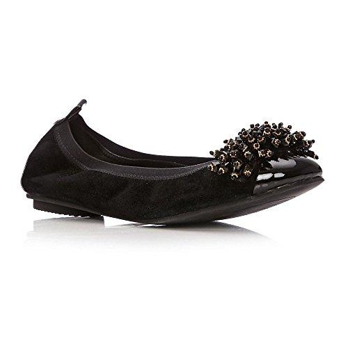 Noir Moda in Noir Femme Ballerines pour Pelle qwTBx41Zz