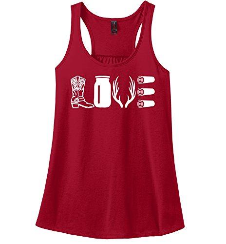 Comical Shirt Ladies Love Hunting Shirt Cute Hunter Country Redneck Red L