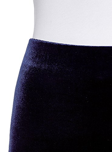 oodji Collection Jupe Velours Bleu Femme Coupe en 7902n Droite UvfUrx