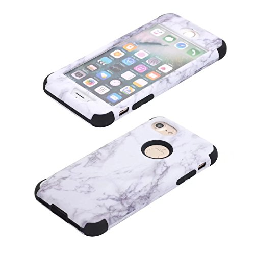 iPhone 7 Plus Coque, Lantier Dual Layer Slim Heavy Duty Marble Stone Graphic Hybrid Armor Hard Soft Rubber Full Body Protective Skin Durable Shockproof Case Cover pour Apple iPhone 7S Plus Gold