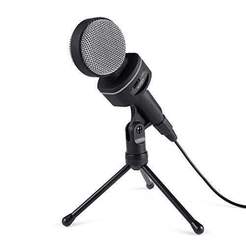 AUKEY Condenser Microphone, Bidirectional Condenser Mic with XLR Female to 3.5mm Male Cable, Volume Control and Tripod Stand for Desktop Computers (Grey)