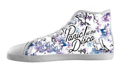 Custom Imported Men's Rock Band Panic At The Disco Logo Canvas Shoes High-Top Lace-up Rubber White Casual (Mens Disco Shoes)