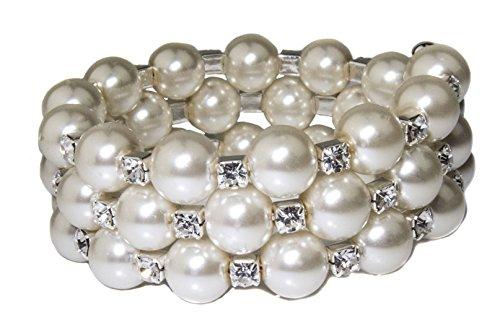Wrap Around Pearl (Zoe & Ella Crystal Rhinestone Silver Plated Cream Glass Pearl Wrap Around Coil Bracelet)
