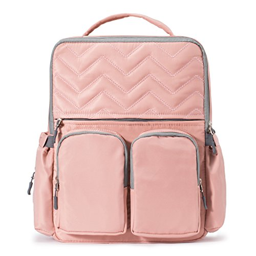 SoHo NY Diaper Backpack Bag 4Pc Chevron, Pink