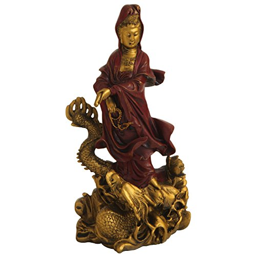 Kuan Yin on Dragon Statue, Red and Gold Finish