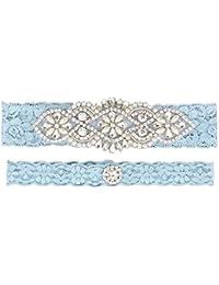 3c6162ed8 2019 Handmade Rhinstones Lace Wedding Garters for Bride Garter Set 2 Pcs